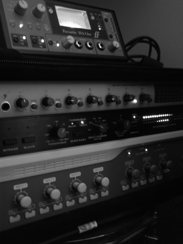 Signal is routed from Focusrite Preamp to dbx 160x to control dynamics, but we usually keep the ratio and attack settings low while tracking.